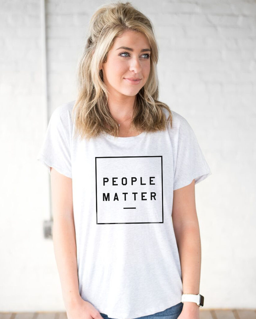 PEOPLE MATTER Funding Disaster Relief - Box Women's White Flowy Dolman