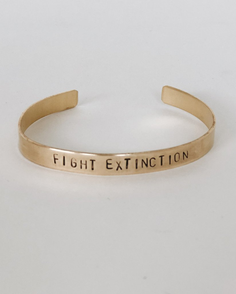 FIGHT EXTINCTION Hand-Stamped Brass Cuff