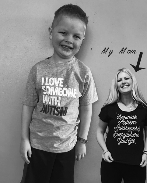I LOVE SOMEONE WITH AUTISM - Boys Grey Triblend Tee