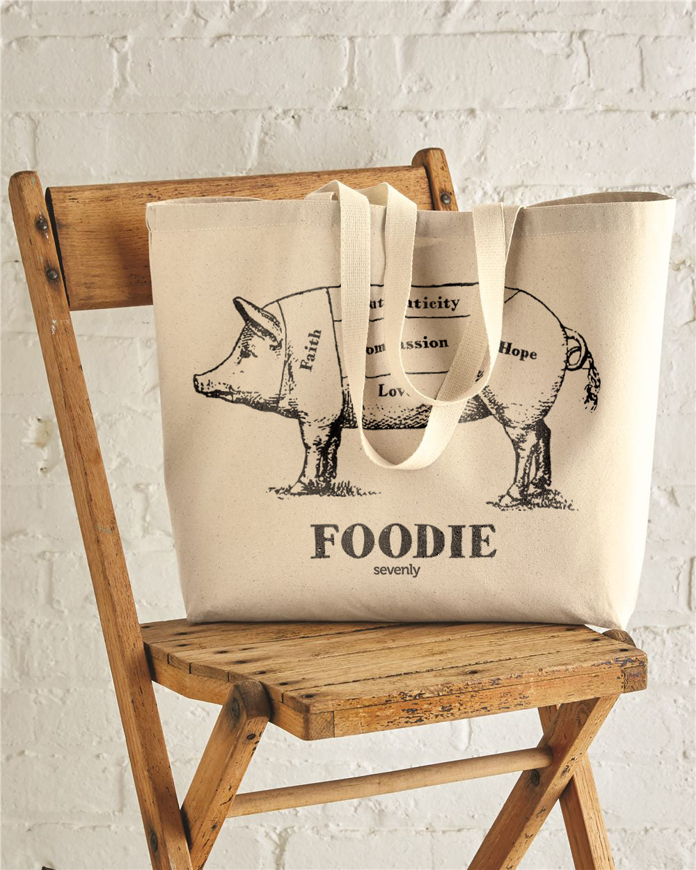 Foodie Jumbo Cotton Canvas Tote Bag