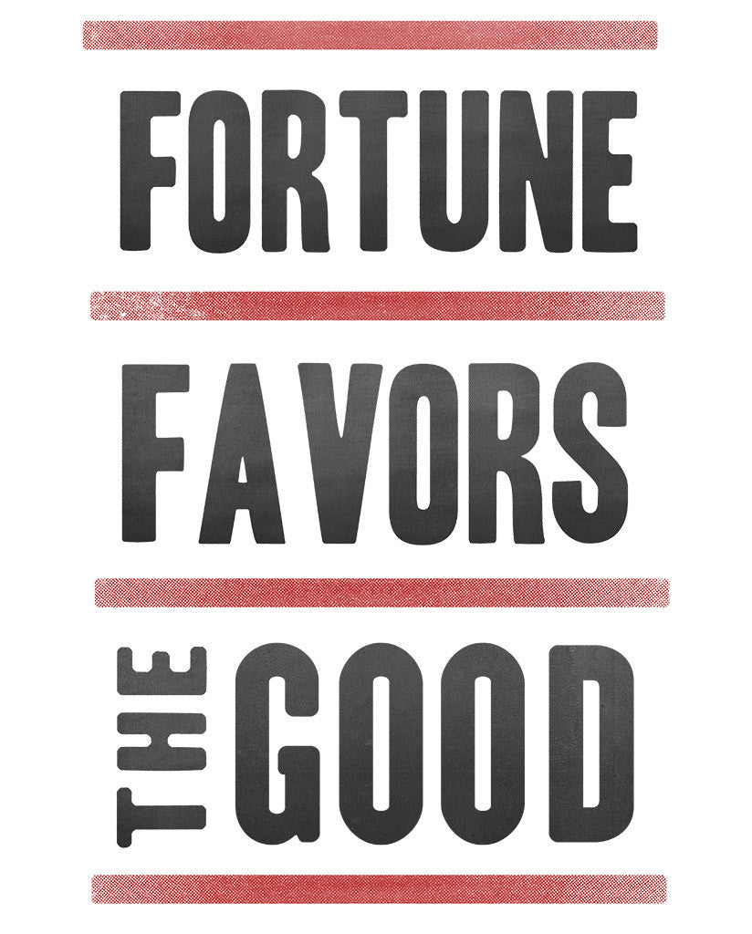 Fortune Favors The Good Mens Red Premium Fitted Tee