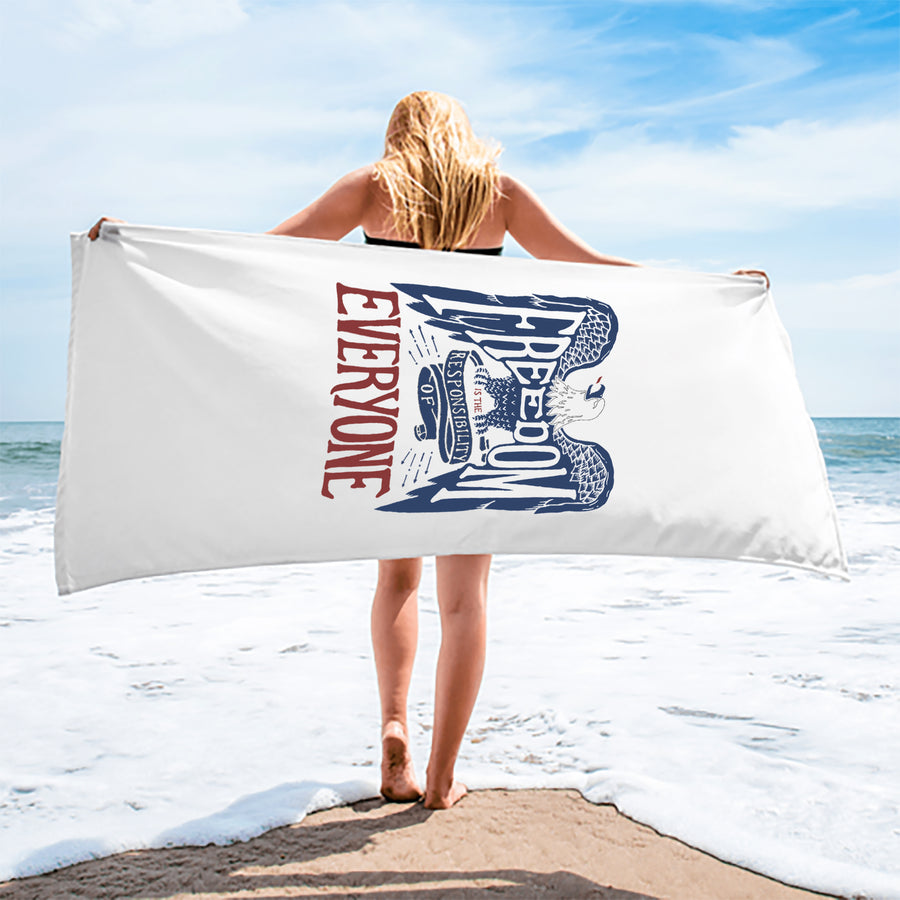 Freedom Eagle Premium Cotton Velour Beach Towel