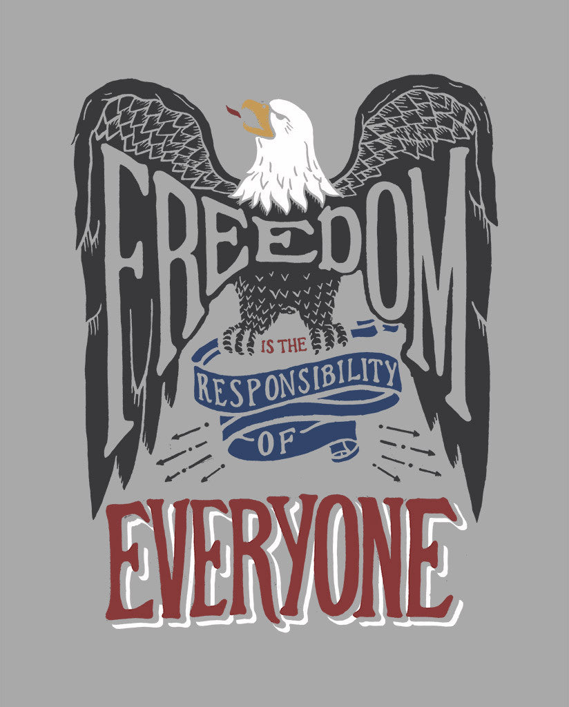 Freedom Is The Responsibility Of Everyone Womens Grey Muscle Tank