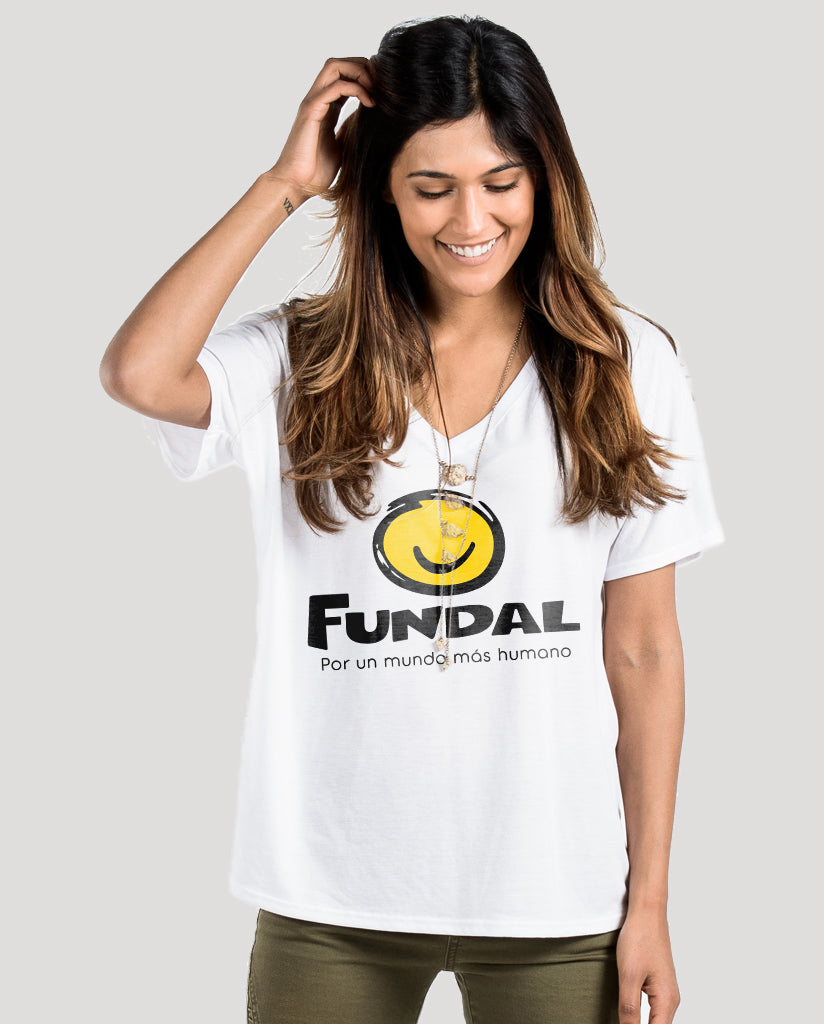 FUNDAL Women's White Premium Slouchy Short Sleeve V-Neck Tee