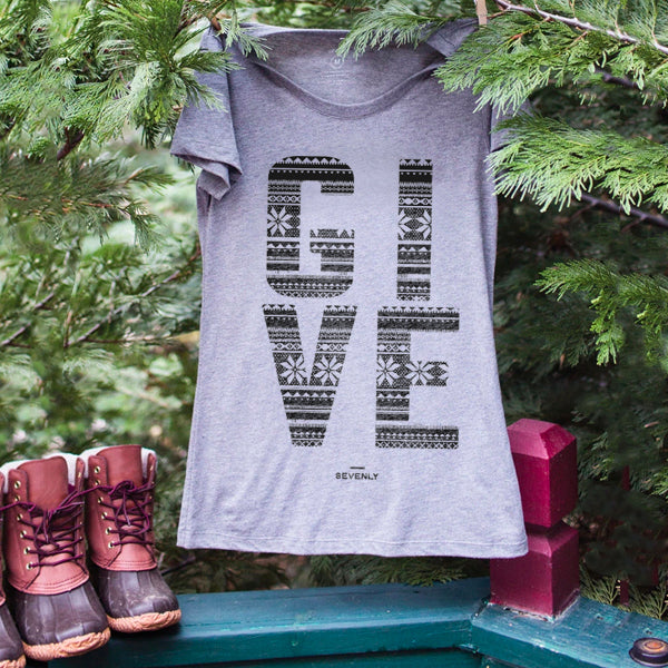 GIVE Holiday Triblend Crewneck Short Sleeve Tee
