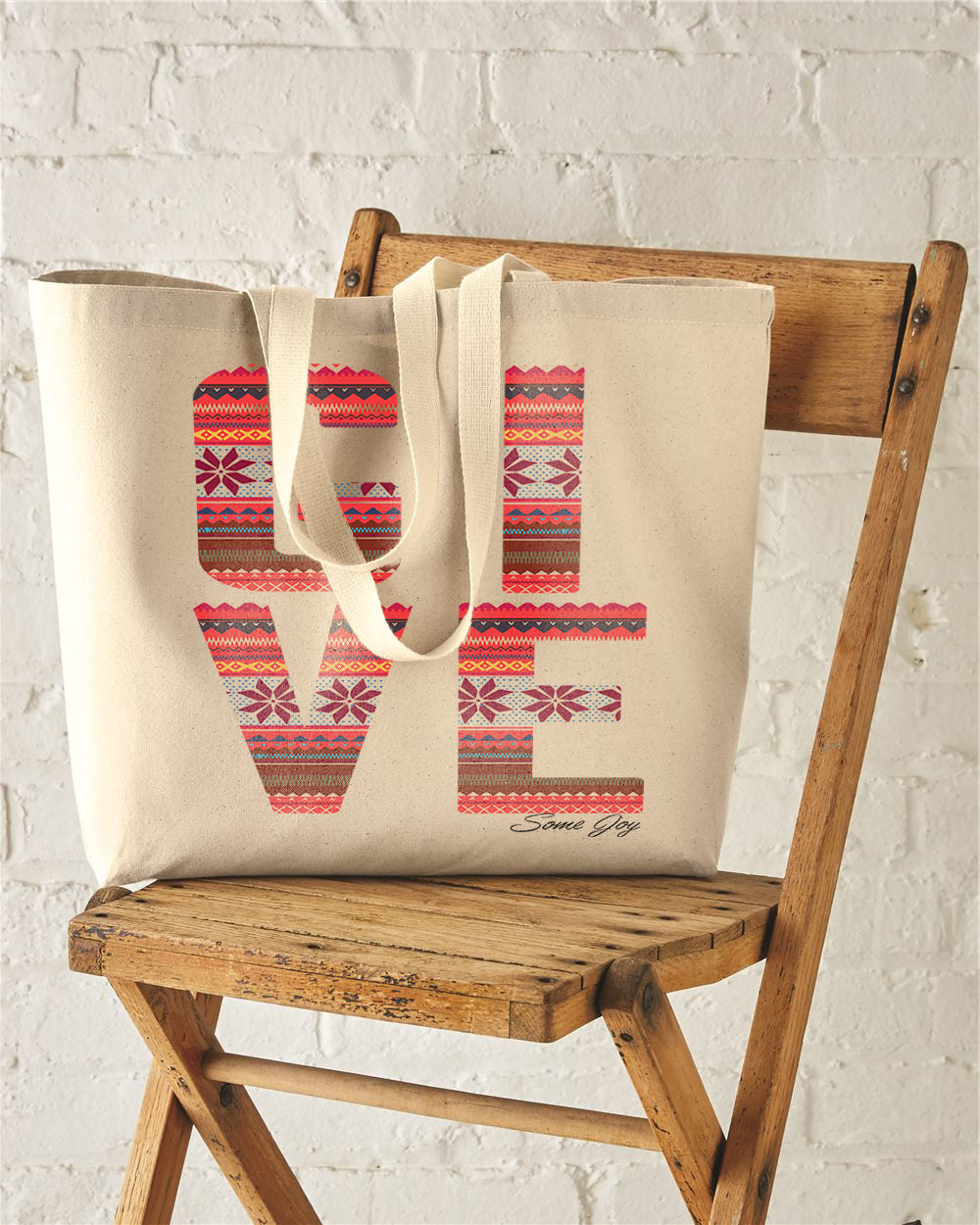 GIVE Some Joy Red Argyle Art Jumbo Tote