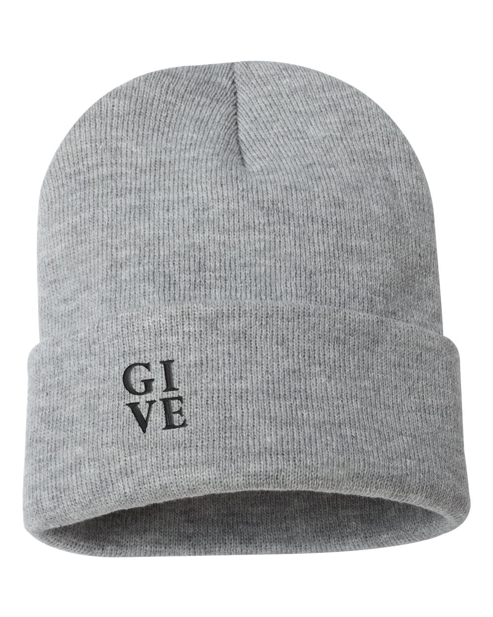 "GIVE Embroidered Ribbed 12"" Inch Acrylic Knit Beanie"