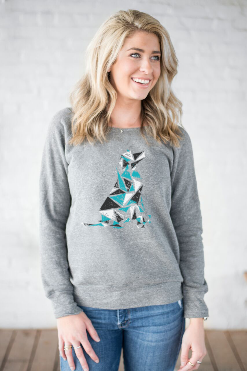 Geometry Dog - Women's Premium Triblend Grey Slouchy Sweatshirt