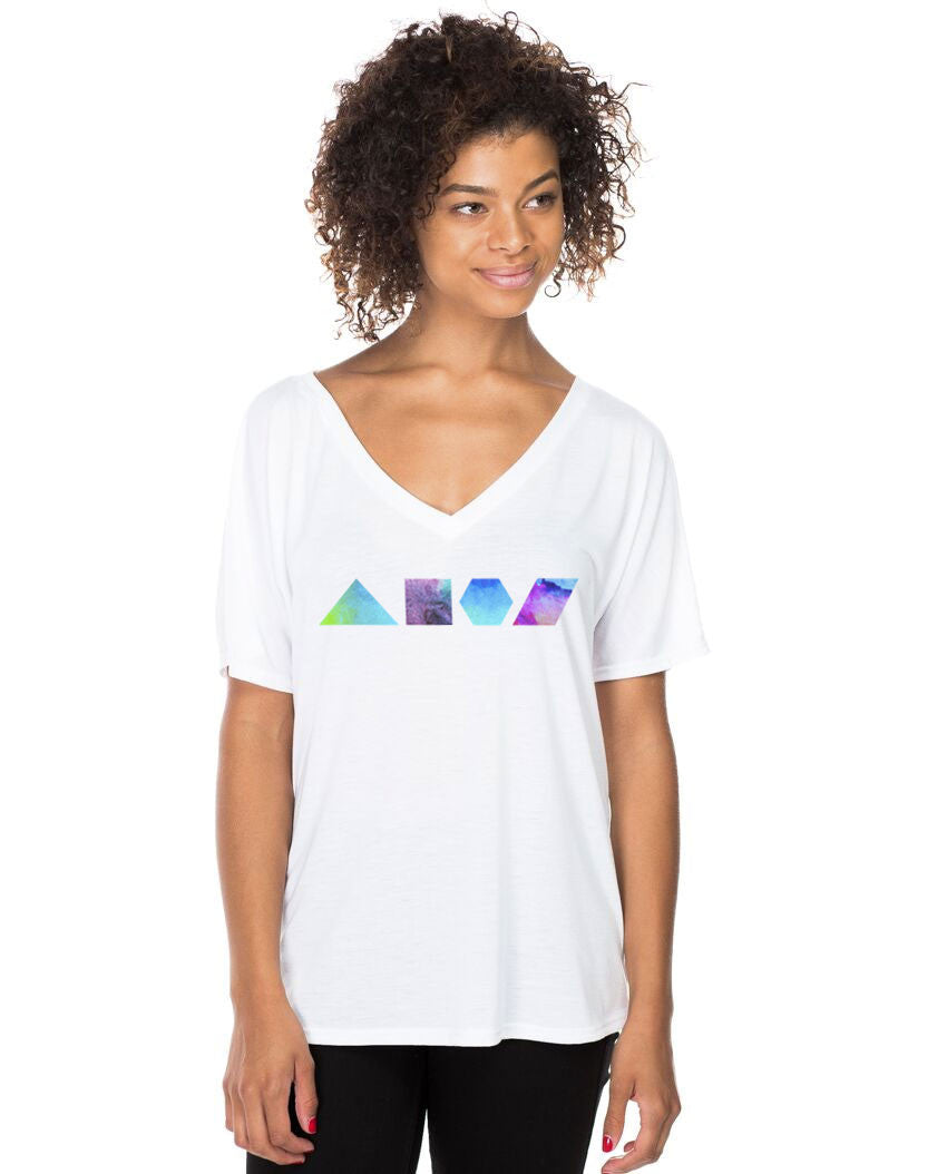 Geometric Shapes Flowy V Neck