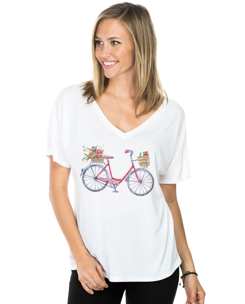 Girl Bicycle Flowy V Neck