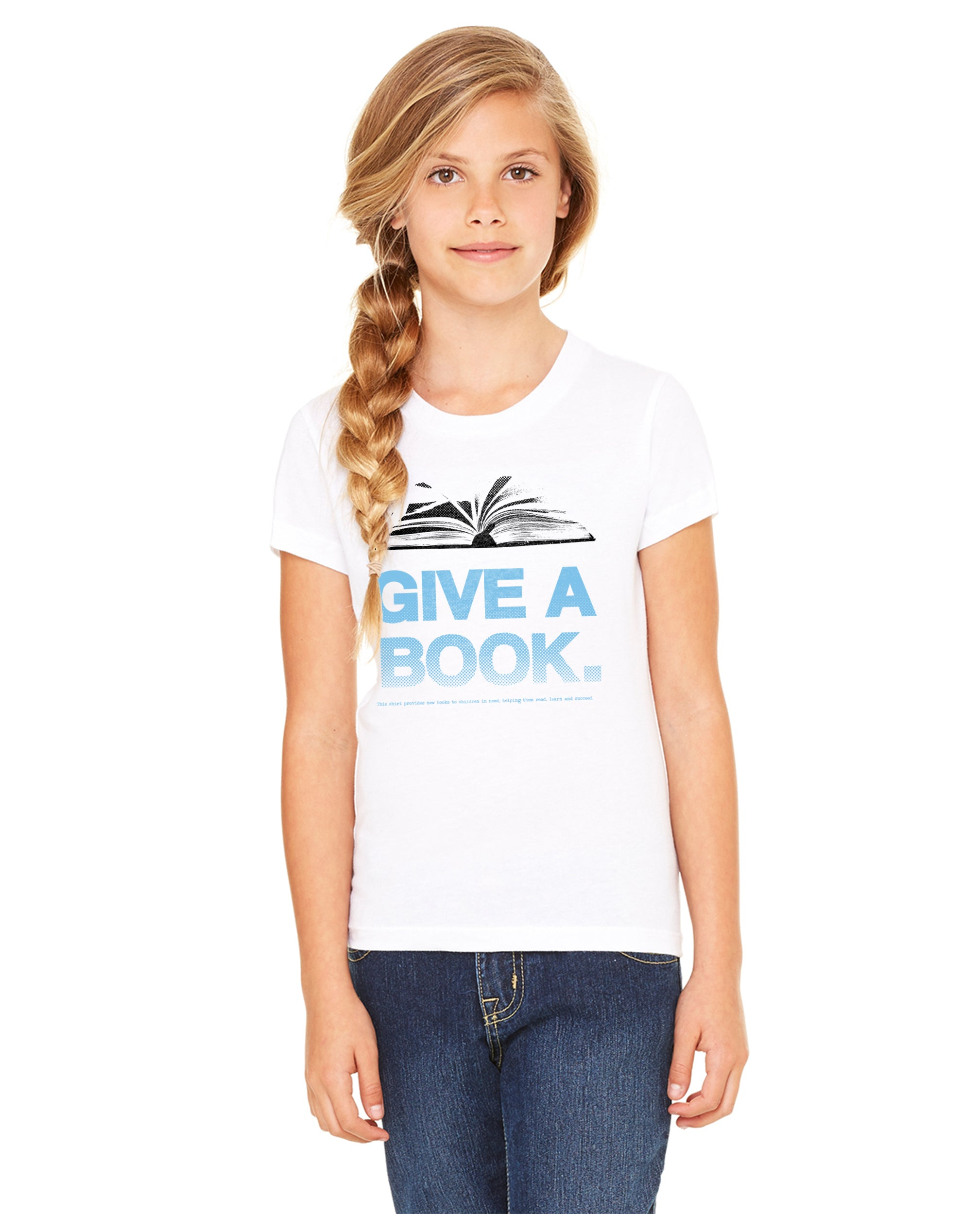 Give A Book Quote Girls Premium Short Sleeve Crew