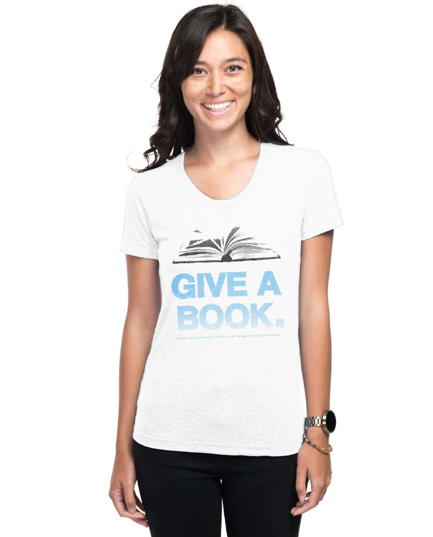 Give A Book Women's Triblend Slim Fit Short Sleeve Tee