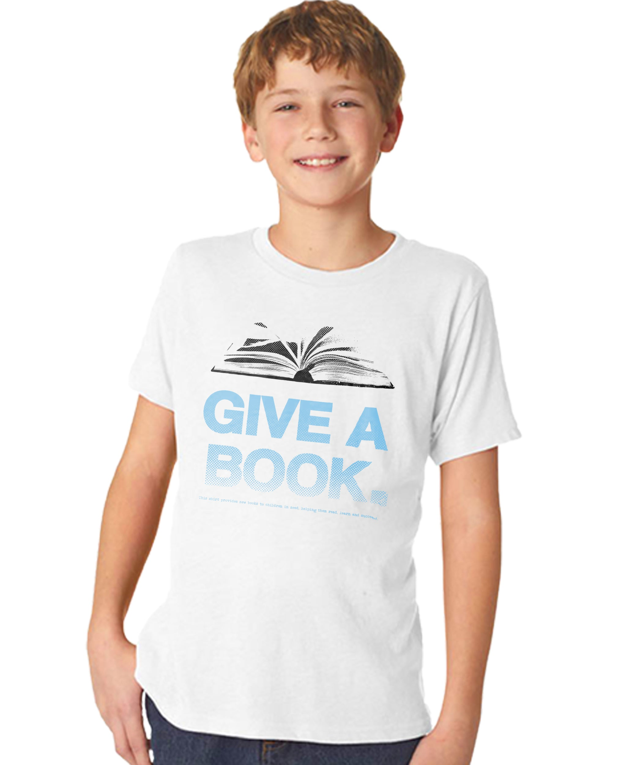 Give A Book Boy's Premium Short Sleeve Crew