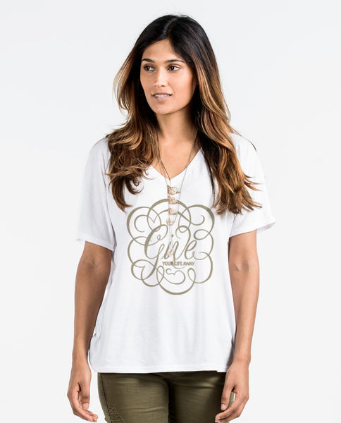 Give Your Life Away Flowy V Neck