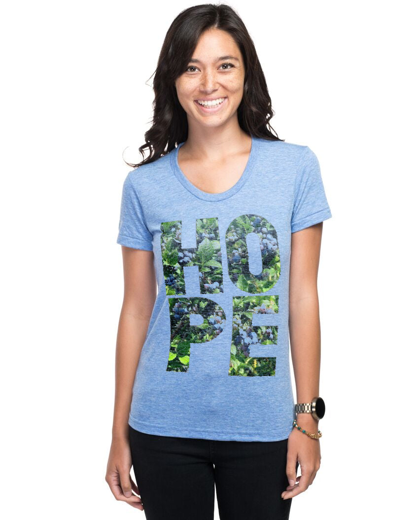 HOPE Blueberry Women's Triblend Slim Fit Short Sleeve Tee