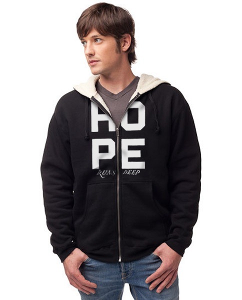 HOPE RUNS DEEP - Men's Sherpa Lined Full Zip Hoodie