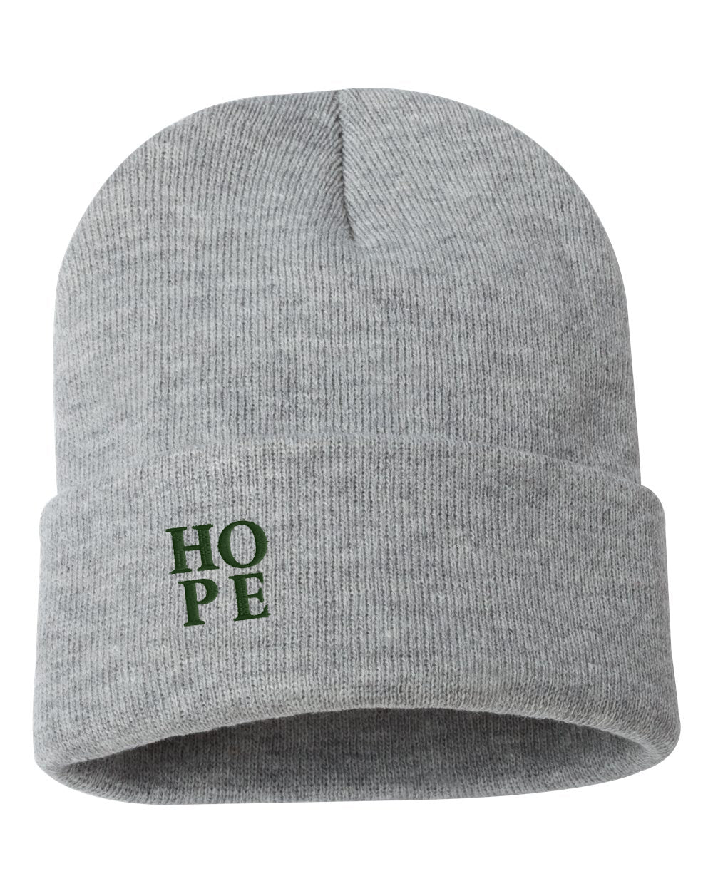 "HOPE Embroidered Ribbed 12"" Inch Acrylic Knit Beanie"