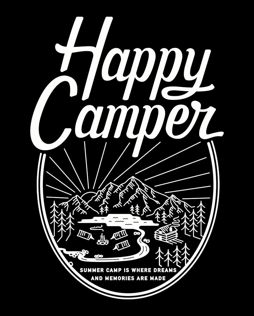 HAPPY CAMPER Youth Grey Jersey Long Sleeve Tee