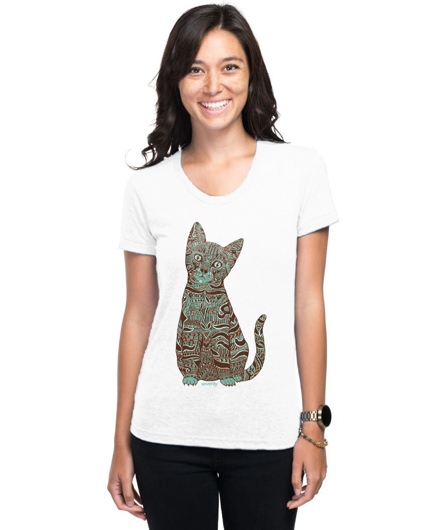 Henna Cat Women's Triblend Slim Fit Short Sleeve Tee