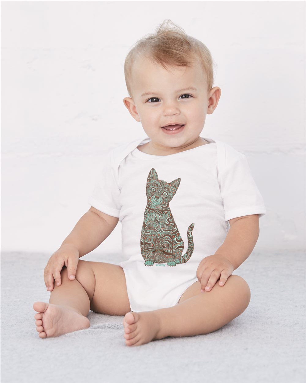 Henna Cat Baby Cozy Graphic Tee Onesie in White