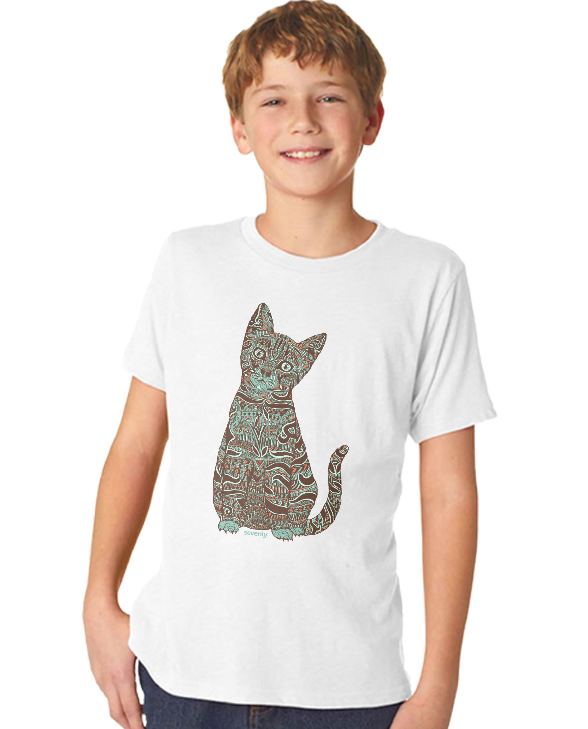 Henna Cat Boy's Premium Short Sleeve Crew