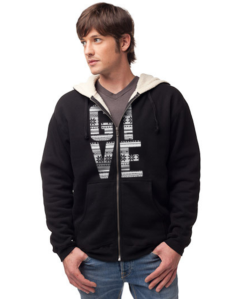 GIVE - Men's Sherpa Lined Full Zip Hoodie