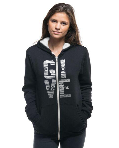 GIVE - Women's Sherpa Lined Full Zip Hoodie
