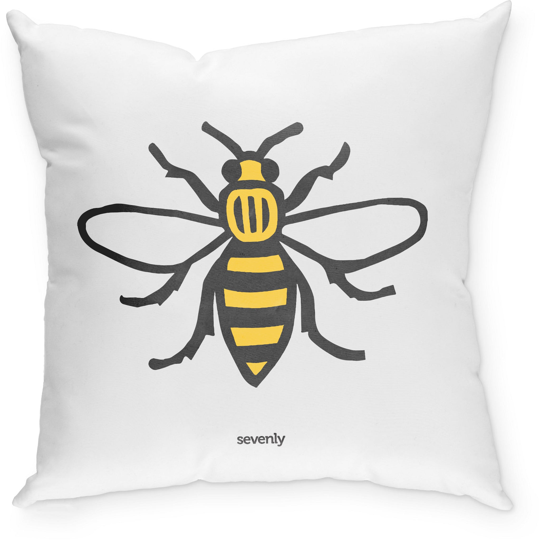 SEVENLY  HOME GOODS - COTTON CANVAS DOWN THROW PILLOW - HONEY BEE
