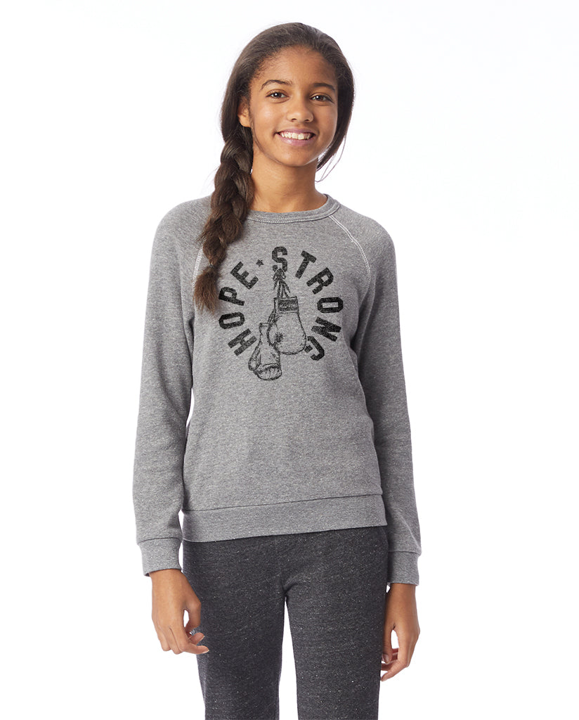 HOPE STRONG BOXING GLOVES - Kids Premium Grey Crew Neck Sweatshirt