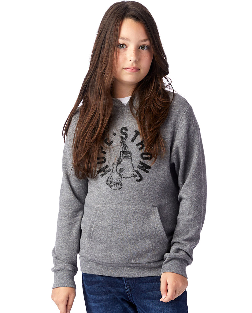 Hope Strong Boxing Gloves Kids Premium Grey Pull Over Hooded Sweatshirt