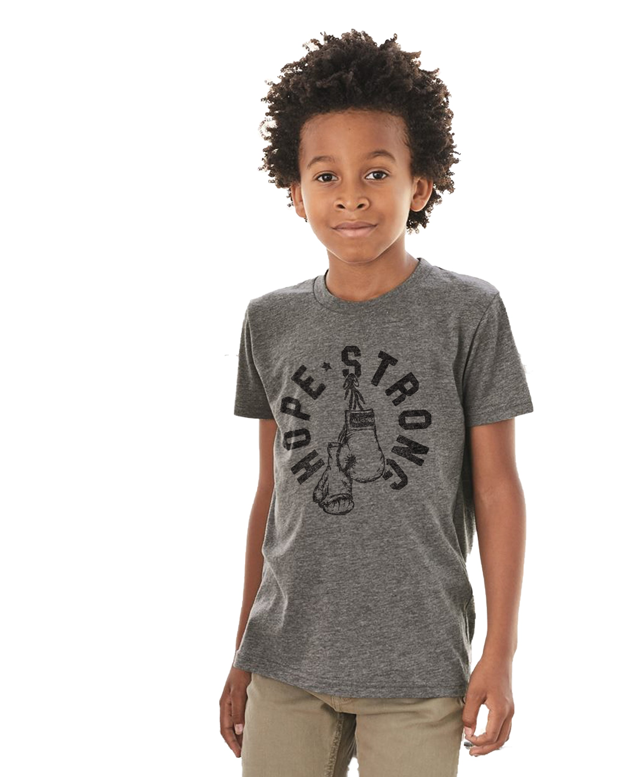 HOPE Strong Boxing Gloves Boy's Premium Short Sleeve Crew