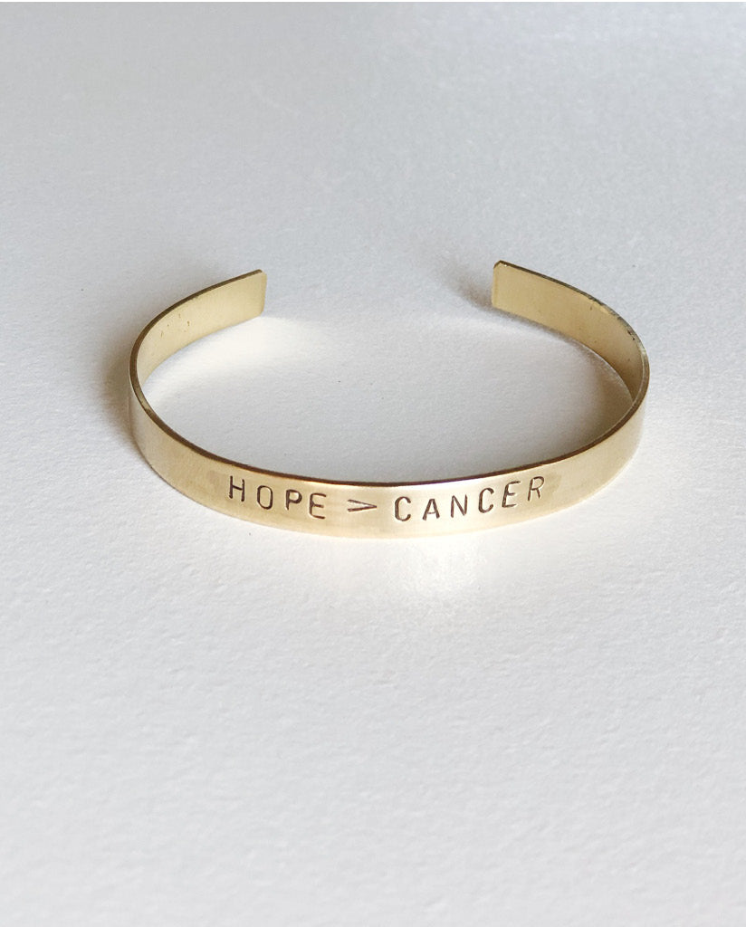 HOPE > CANCER Hand-Stamped Brass Cuff