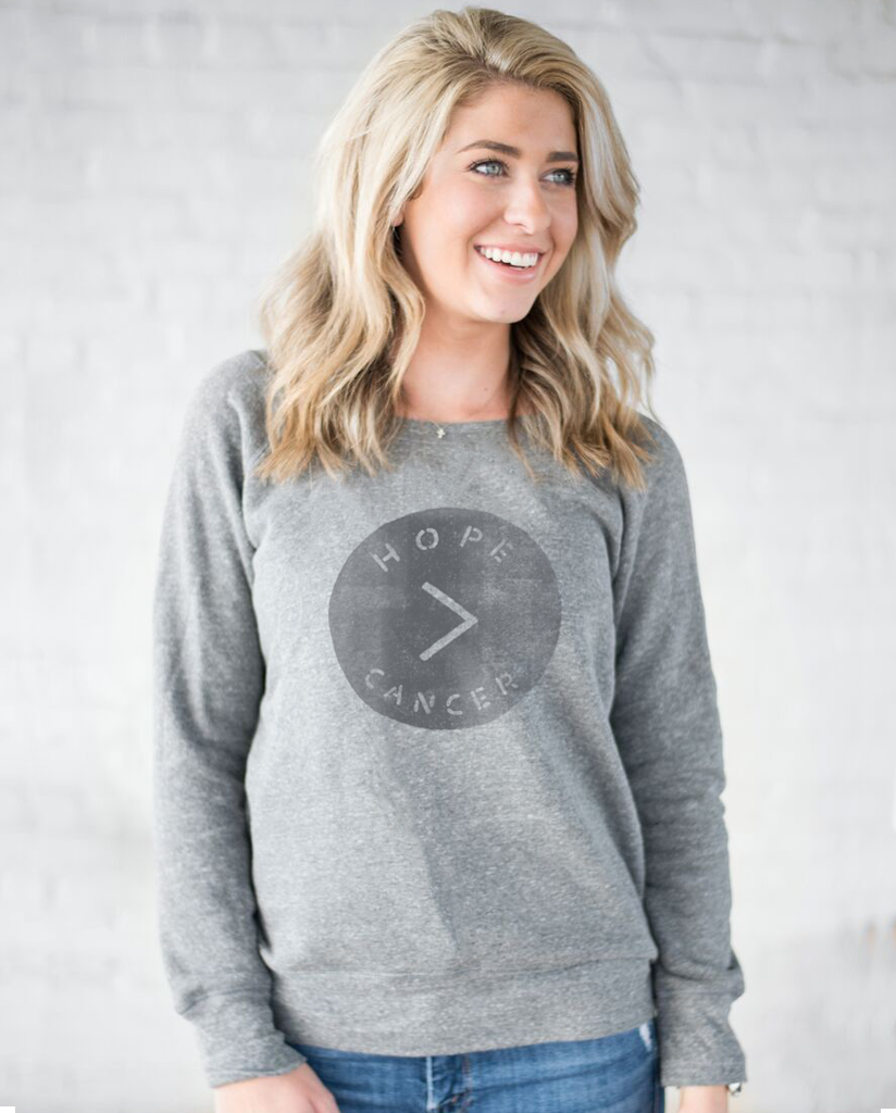 HOPE > CANCER Womens Grey Slouchy Sweatshirt