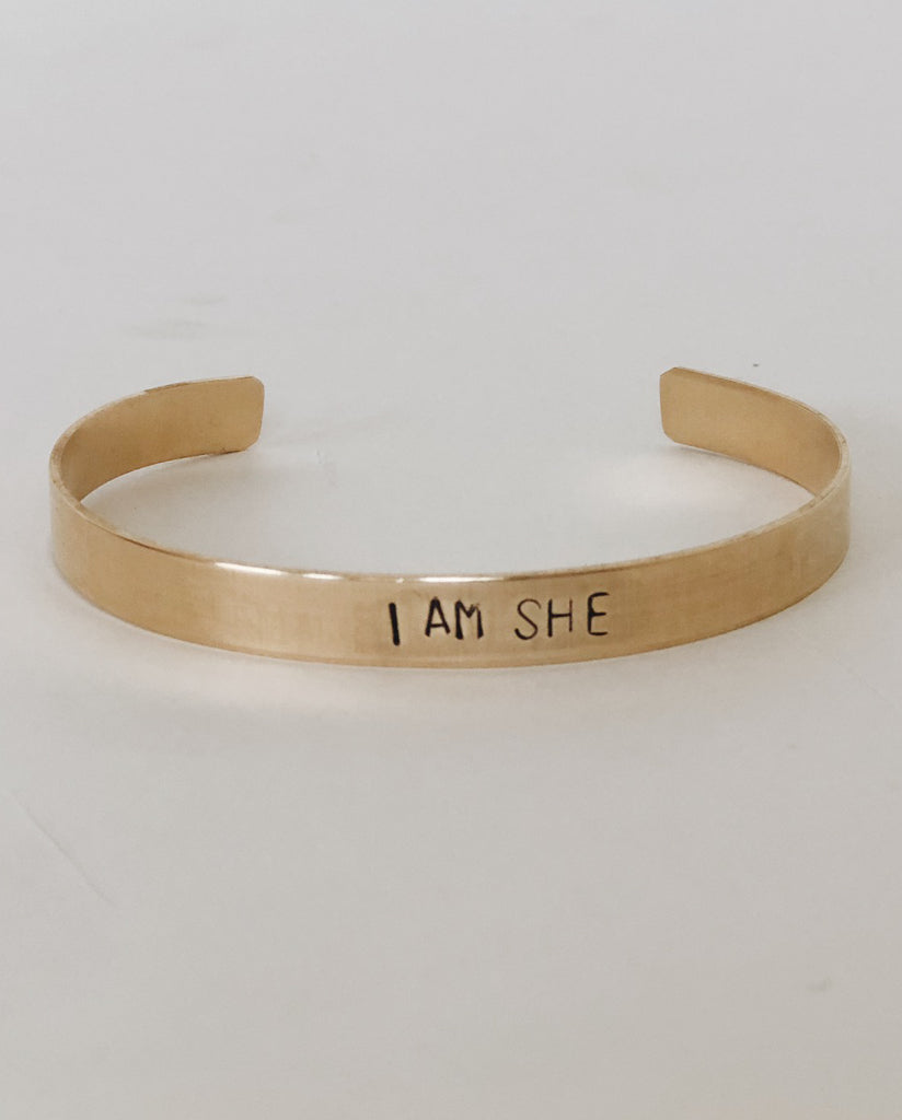 I AM SHE Hand-Stamped Brass Cuff