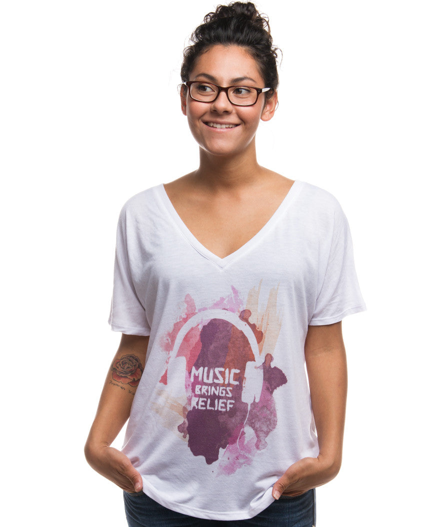 Music Brings Relief Flowy V Neck White