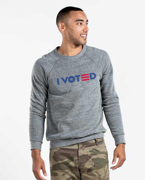 I VOTED 3 Bars & Star - Men's Premium Grey Crew Neck Sweatshirt