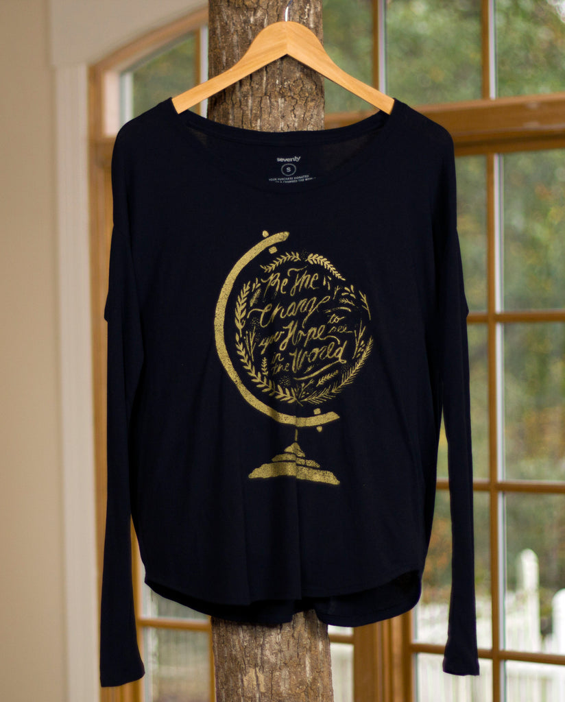 BE THE CHANGE Womens Black Flowy Long Sleeve