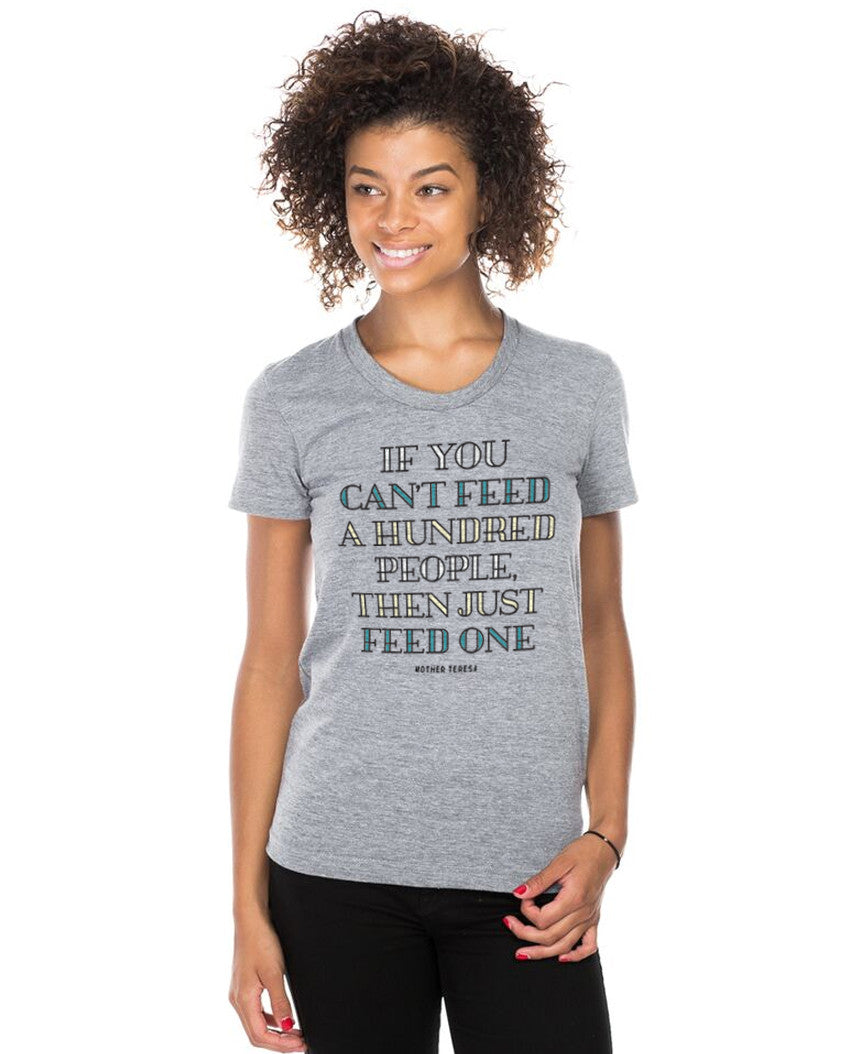 Just Feed One Mother Teresa Triblend Short Sleeve Tee