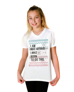 I Am Not Afraid Youth Jersey Short Sleeve V Neck Tee