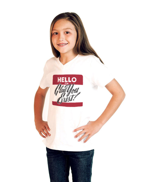 Hello Youth Jersey Short Sleeve V Neck Tee