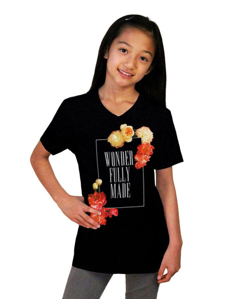 Wonderfully Made Youth Jersey Short Sleeve V Neck Tee