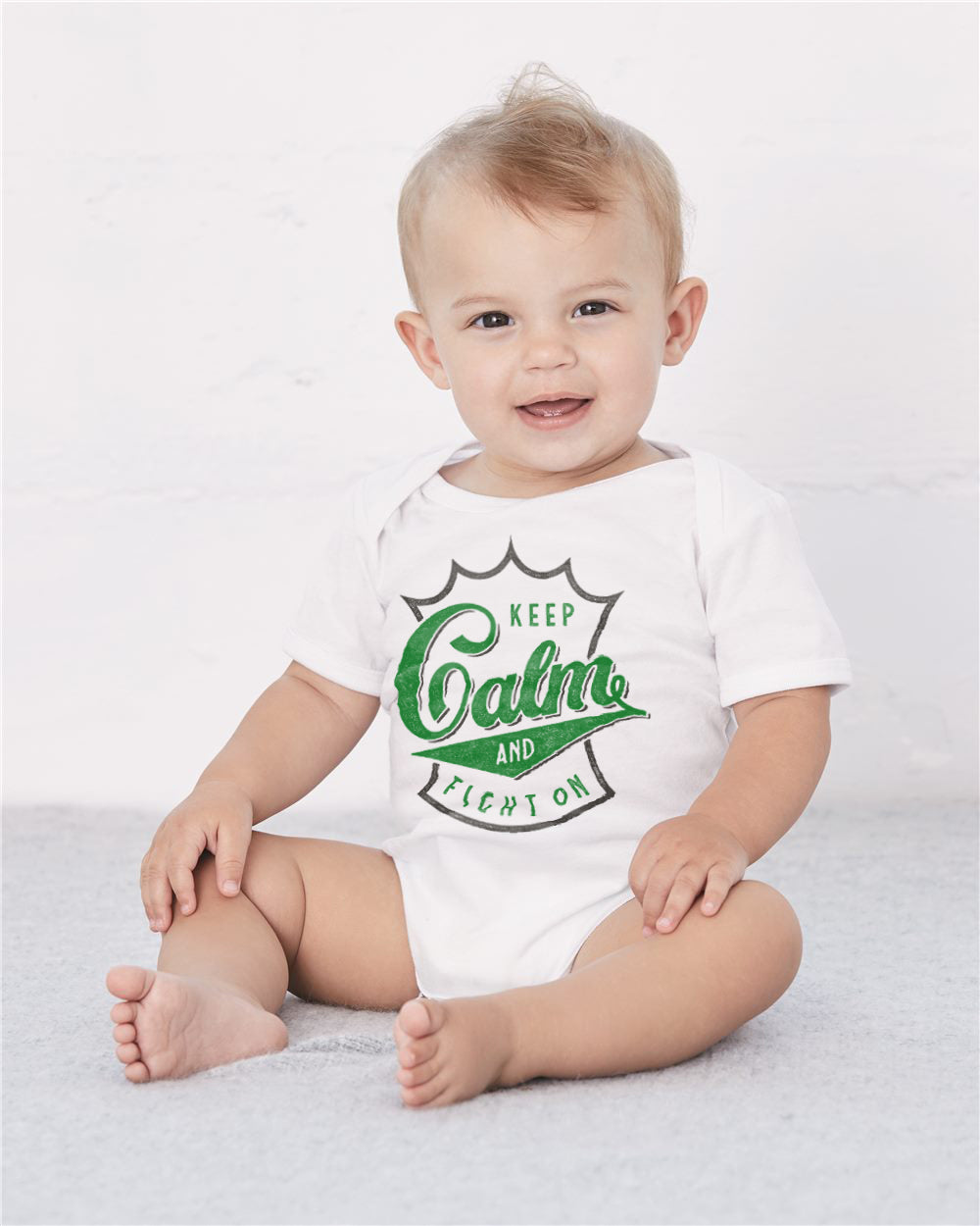Keep Calm White Baby Cozy Graphic Tee Onesie
