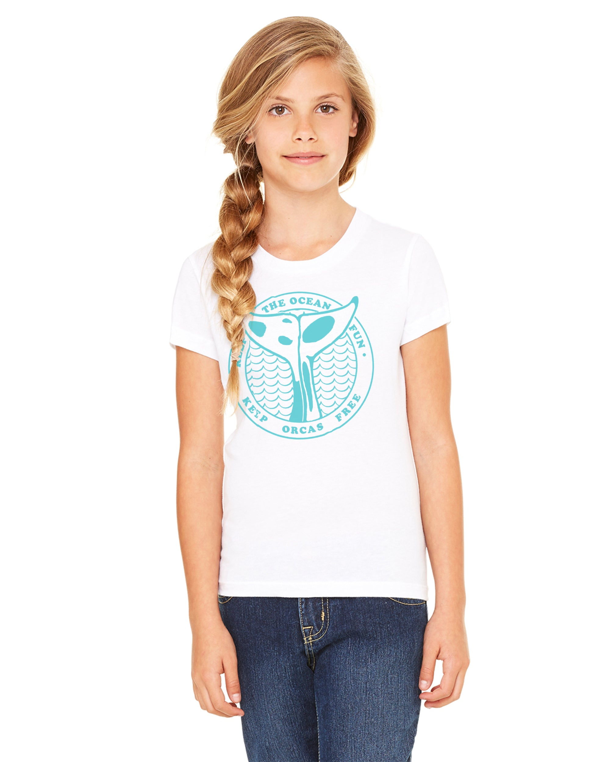 Keep Orcas Free Girls Premium Short Sleeve Crew