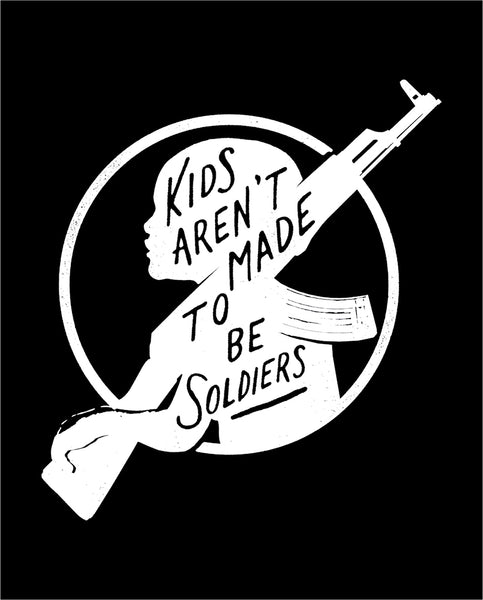 KIDS AREN'T MADE TO BE SOLDIERS Mens Black Vintage Jersey Pocket Tee