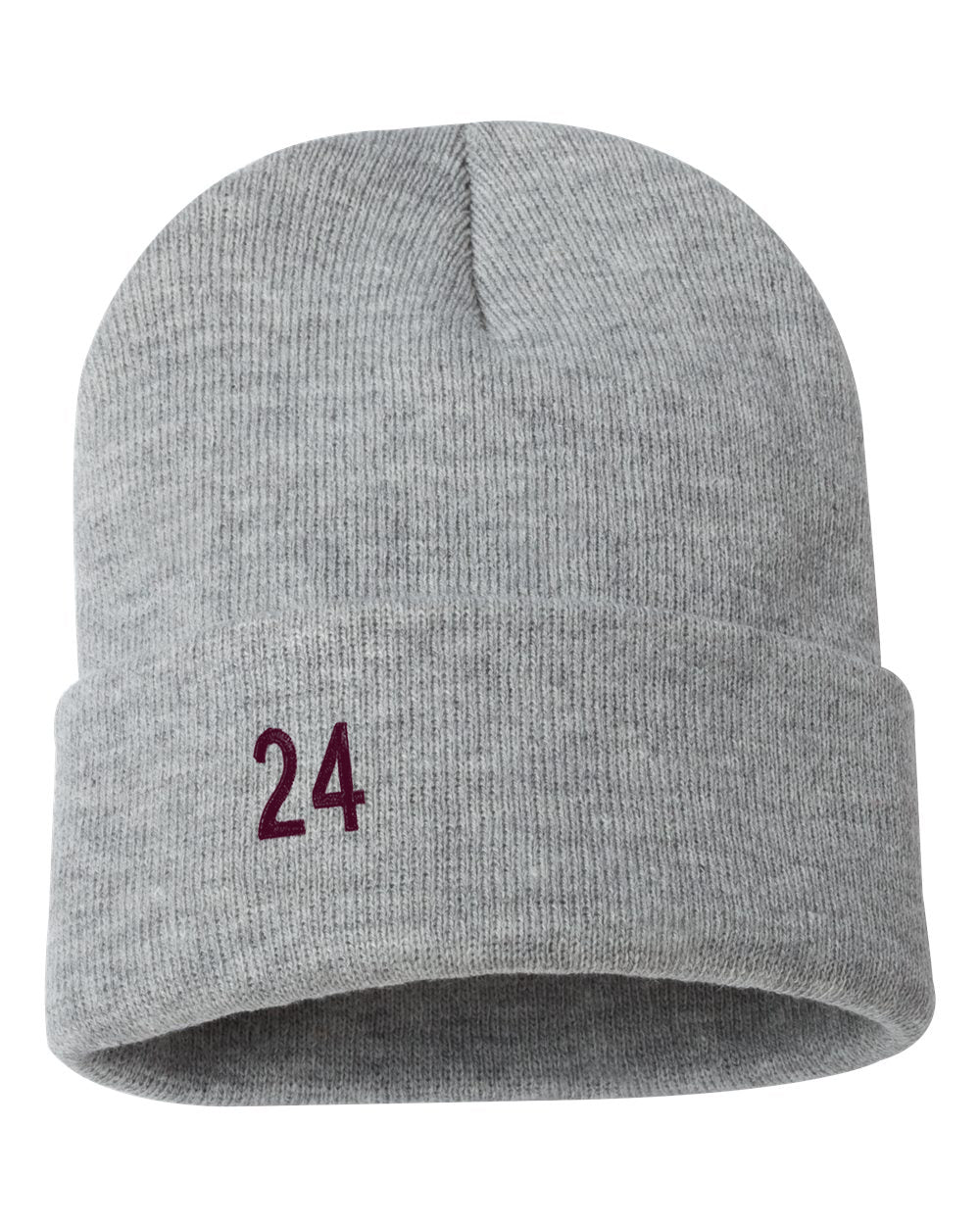 "Kobe 24 Embroidered Ribbed 12"" Inch Acrylic Knit Beanie"