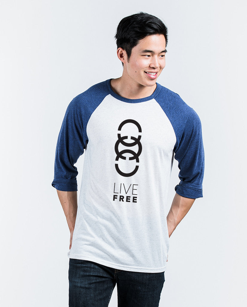 Live Free Links Unisex Quarter Sleeve Baseball Tee