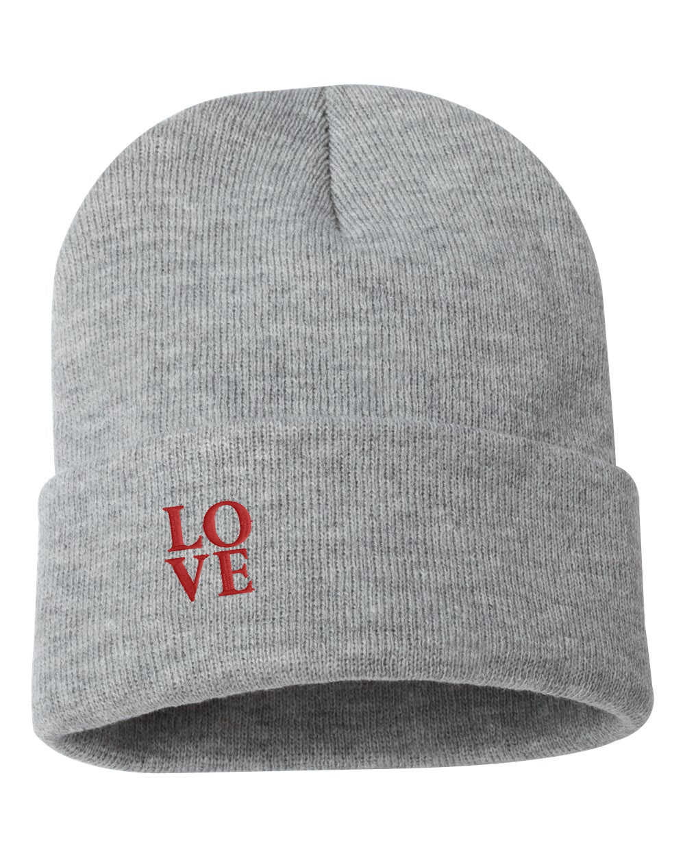 "LOVE Embroidered Ribbed 12"" Inch Acrylic Knit Beanie"