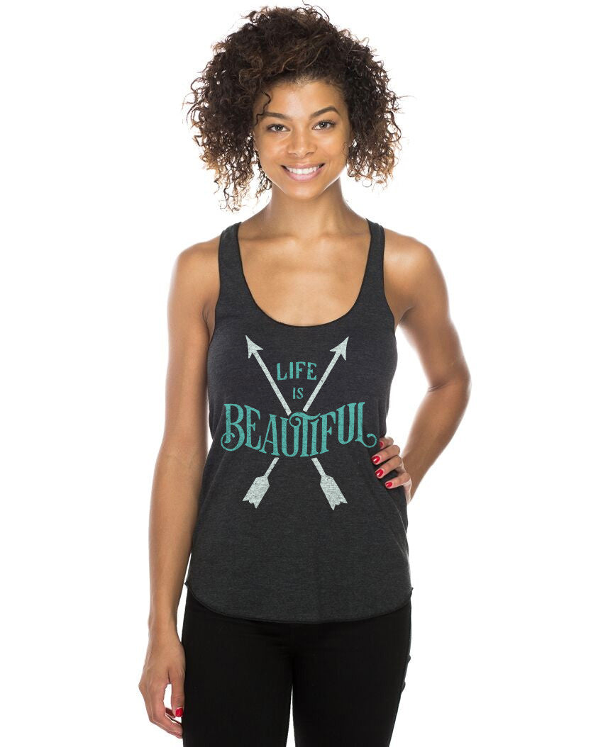 Life Is Beautiful Fitted Racerback Tank