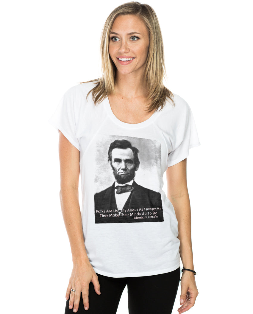 Abraham Lincoln Happiness Quote Women's Flowy Raglan