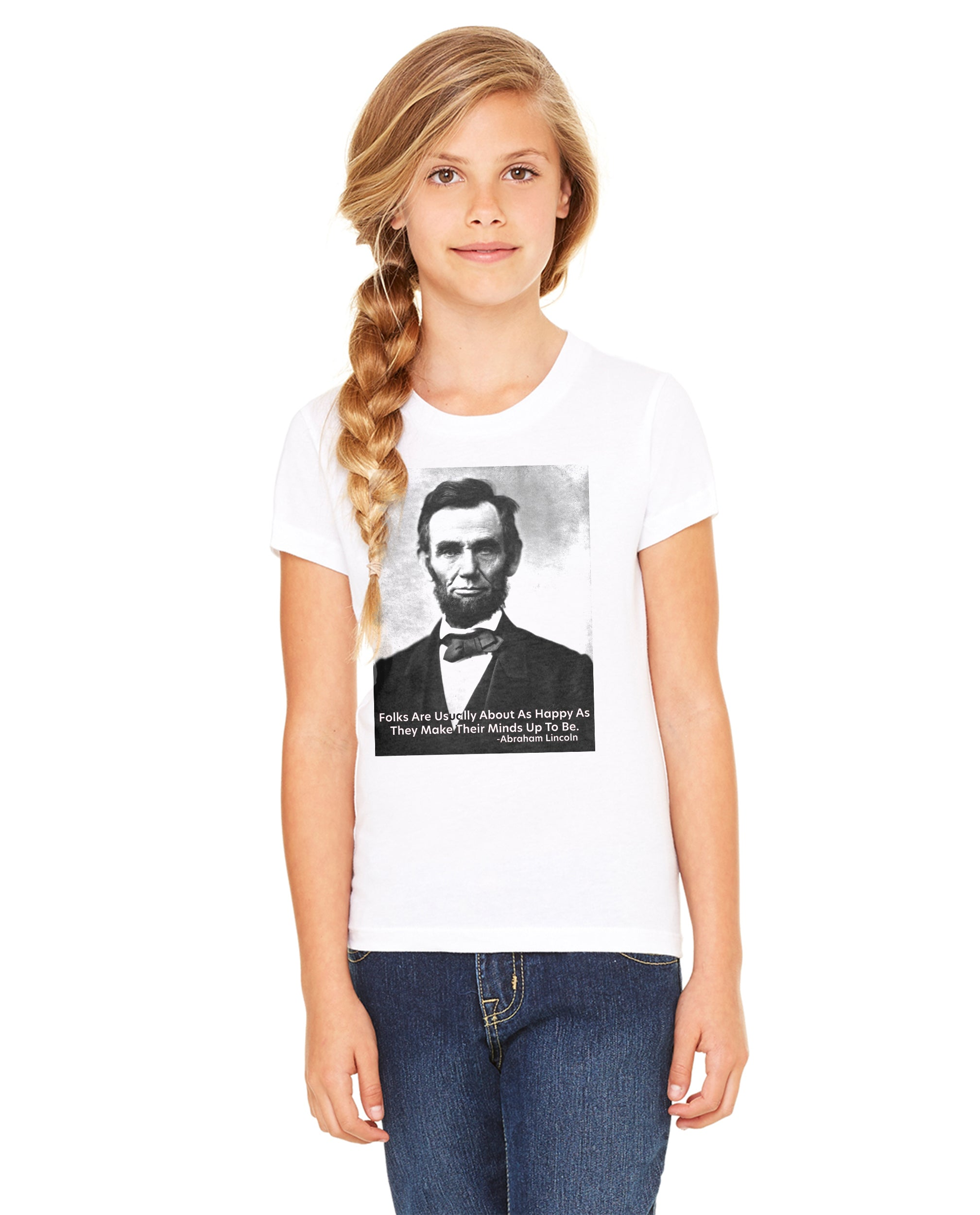Abraham Lincoln Happiness Quote Girls Premium Short Sleeve Crew